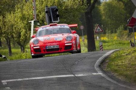 Zwickau, Germany, 10.05.2012 - Olaf Dobberkau in his Porsche 911 GT3 at Shakedown of the AvD Sachsen Rallye 2012.