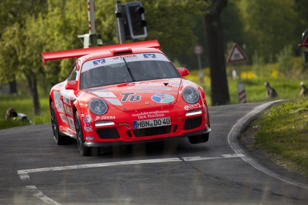 gt3: Zwickau, Germany, 10.05.2012 - Olaf Dobberkau in his Porsche 911 GT3 at Shakedown of the AvD Sachsen Rallye 2012.