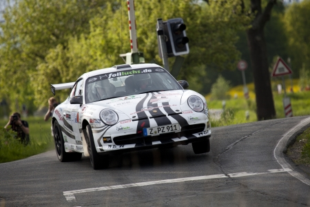 Zwickau, Germany, 10.05.2012 - Ruben Zeltner in his Porsche 911 GT3 at Shakedown of the AvD Sachsen Rallye 2012. Stock Photo - 13745015