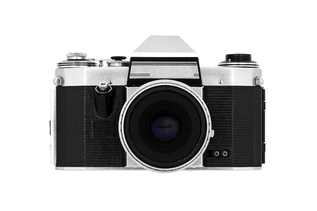 Classic roll-film camera isolated on white photo
