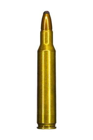 semi automatic: Single assault rifle bullet isolated on white background