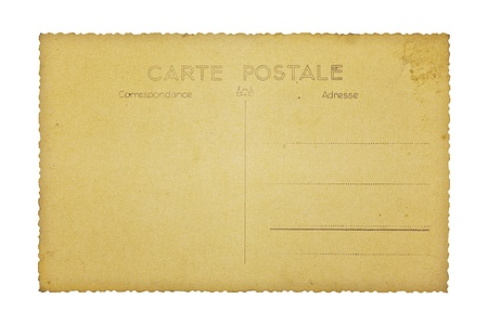 unprinted: Old and empty backside of a french postcard, isolated on white