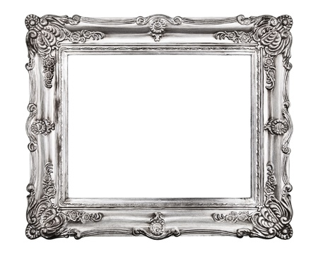 picture frame on wall: Vintage picture frame, isolated on white background