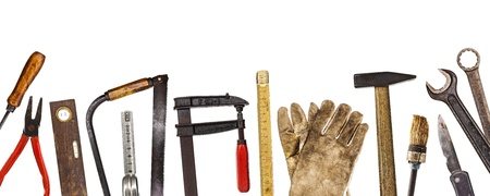 woodworking: Various old craftsman tools isolated on white background Stock Photo