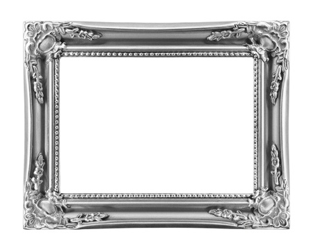 silvered: Vintage picture frame, isolated on white background