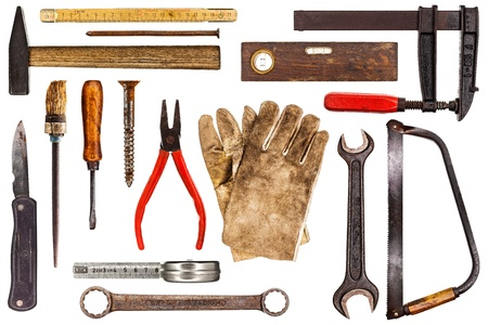 open end wrench: Various old craftsman tools isolated on white background Stock Photo