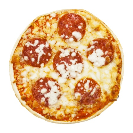 Cheap frozen pizza out of the supermarket isolated on white