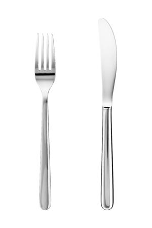 Knife and fork isolated on white background Archivio Fotografico