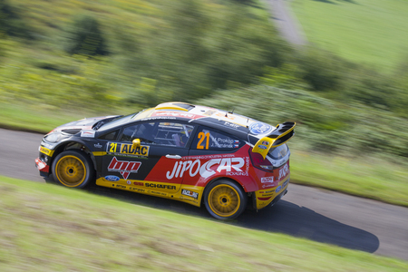 Martin Prokop and Jan Tomanek compete in their Ford Fiesta RS WRC during shakedown of the ADAC rally Germany on August 21, 2014 in Trier, Germany. Editorial