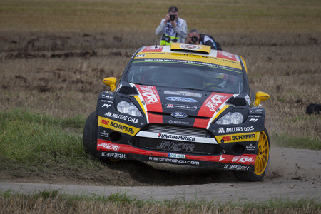 Martin Prokop and Jan Tomanek compete in their Ford Fiesta RS WRC during day 1 of the ADAC rally Germany on August 22, 2014 in Trier, Germany. Editorial