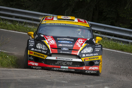 Martin Prokop and Jan Tomanek compete in their Ford Fiesta RS WRC during day 2 of the ADAC rally Germany on August 23, 2014 in Trier, Germany.