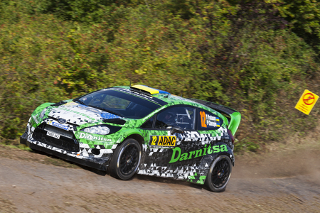 Yuriy Protasov and Pavlo Cherepin compete in their Ford Fiesta RS WRC during shakedown of the ADAC rally Germany on August 21, 2014 in Trier, Germany.