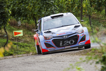 Thierry Neuville of Belgium and Nicolas Gilsoul of Belgium compete in their Hyundai Motorsport Hyundai I20 WRC during day 1 of the ADAC rally Germany on August 22, 2014 in Trier, Germany. Editorial