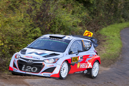 Thierry Neuville of Belgium and Nicolas Gilsoul of Belgium compete in their Hyundai Motorsport Hyundai I20 WRC during shakedown of the ADAC rally Germany on August 21, 2014 in Trier, Germany.