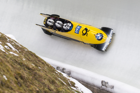 competes: Bobsleigh athlete Francesco Friedrich of Germany competes with Candy Bauer, Martin Grothkopp and Thorsten Margis during the BMW IBSF World Cup Bob at Deutsche Post Eisarena on February 28, 2016 in Koenigssee, Germany.