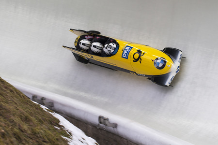 Bobsleigh athlete Francesco Friedrich of Germany competes with Candy Bauer, Martin Grothkopp and Thorsten Margis during the BMW IBSF World Cup Bob at Deutsche Post Eisarena on February 28, 2016 in Koenigssee, Germany.