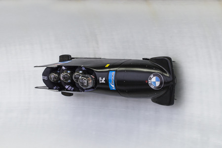 bobsleigh: Bobsleigh athlete Lukas Kolb, from Austria competes with Markus Treichl, Franz Estherhammer and Sebastian Heufler during the BMW IBSF World Cup Bob at Deutsche Post Eisarena on February 28, 2016 in Koenigssee, Germany.