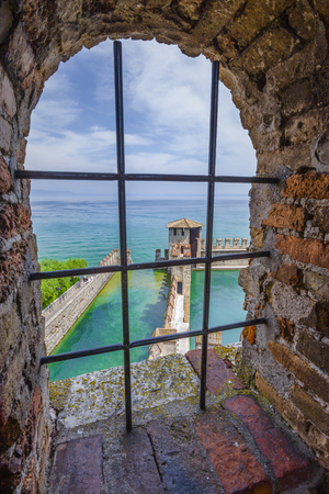 View from the castello Scaligero at the old part of Sirmione at lake Garda, Brescia, Lombardy, Italy Stock Photo