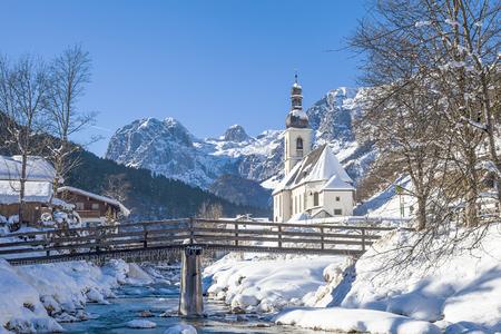 Popular tourist location, Ramsau, parish church Saint Sebastian, Ramsau, Berchtesgaden, Bavaria, Germany