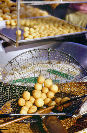 Bangkok, Thailand, Street food and market  an itinerant kitchen is spesialized in donuts Stock Photo