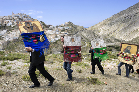 OLYMPOS, KARPATHOS island – april 29, 2008 : procession of Easter Tuesday.The icons are walking in the village and throughout the valley Editorial