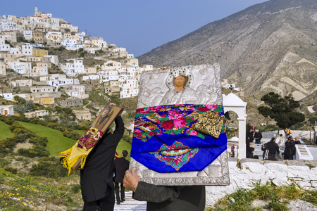 OLYMPOS, KARPATHOS island – april 29, 2008 : procession of Easter Tuesday.The icons are walking in the village and throughout the valley. The first stop is the cemetery to honor the dead Editorial