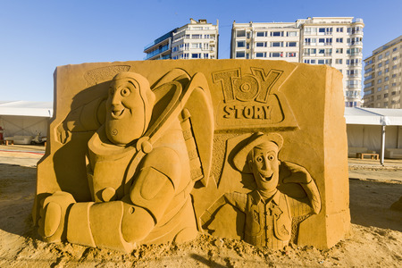 OSTEND, BELGIUM - september 22 2017- Disney themed sand castles, Disney Sand, celebrating the anniversary of Disneyland Paris on the beach in Ostend, Belgium.