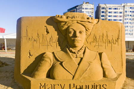 OSTEND, BELGIUM - september 22 2017- Sandcastles of Mary Poppins, on the beach of Ostend,