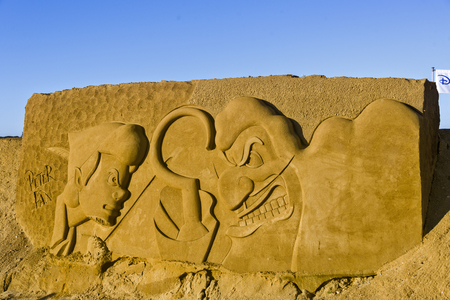 OSTEND, BELGIUM - september 22 2017- Sandcastles of Peter Pan on the beach of Ostend,