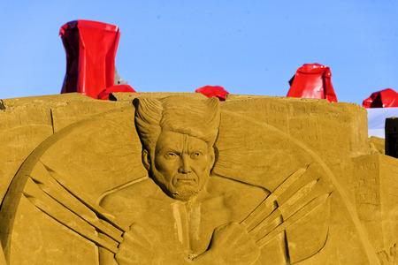 OSTEND, BELGIUM - september 22 2017- Sandcastles of Wolverine on the beach of Ostend,