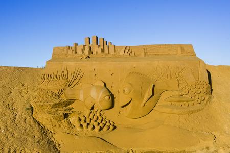 OSTEND, BELGIUM - september 22 2017- Sandcastles of Nemo on the beach of Ostend,