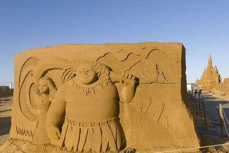 OSTEND, BELGIUM - september 22 2017- Sandcastles of Vaiana on the beach of Ostend,