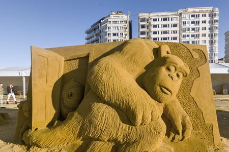 OSTEND, BELGIUM - september 22 2017- Sandcastles of Monsters, Inc on the beach of Ostend,