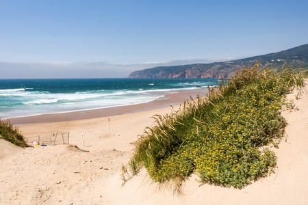 Praia do Guincho is a popular Atlantic The beach, has preferred surfing conditions and is popular for surfing, windsurfing, and kitesurfing. Stock Photo