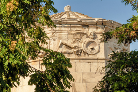 Greece, Athens, The Tower of the Winds or the Horologion of Andronikos Kyrrhestes is an octagonal Pentelic marble clocktower in the Roman Agorathe monument is also called Aerides