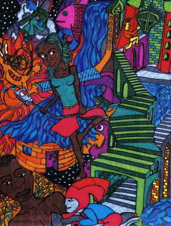 paranoia: Complex colored drawing, hand made, that shows a girl with a parking meter in her hands  On the background stairs, other personages and objects  Drawing hand made by the photographer