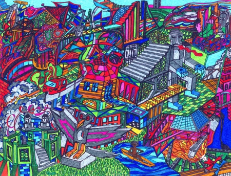 Very complex and colored drawing where many characters and structures compound an imaginary world  The drawing has been hand made by the photographer