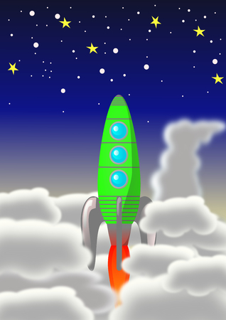 exiting: An illustration of a green and grey rocket exiting some layers of clouds and flying towards a blue and dark sky covered with stars