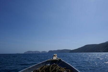 Fishing boat in the sea in the morning hour. 版權商用圖片