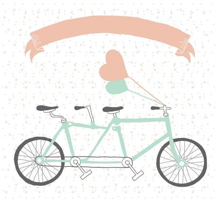 bicicleta retro: Dibujado a mano tandem bicicleta estilo vintage con los globos Vectores