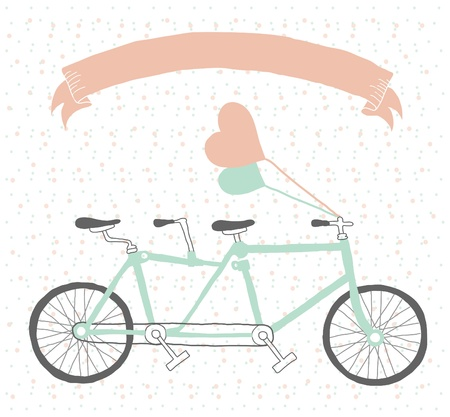 tandem bicycle: Hand drawn tandem bicycle vintage style with balloons
