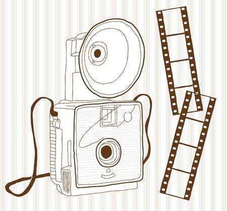 Hand drawn vintage camera Stock Vector - 20273698