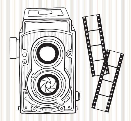 Hand drawn vintage camera Stock Vector - 20273696