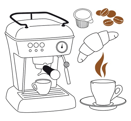 espresso machine: Espresso coffee machine clip art set  Illustration