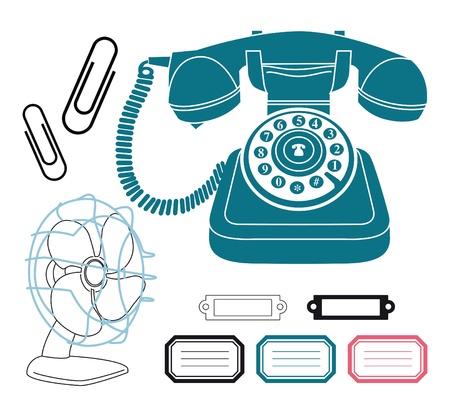 vintage telefoon: Uitstekende telefoon retro ventilator clip art set