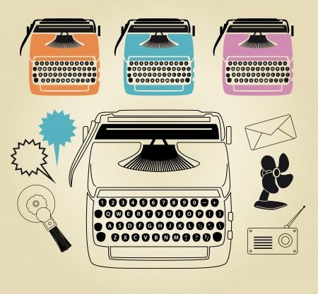 typewriter machine: Vintage typewriter retro industrial fan clip art set