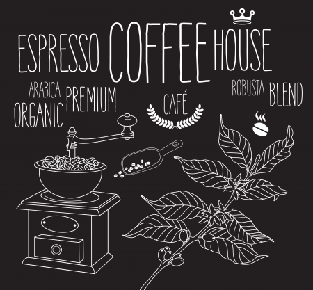 planta de cafe: Comercio antiguo conjunto de imágenes prediseñadas planta Molinillo de café