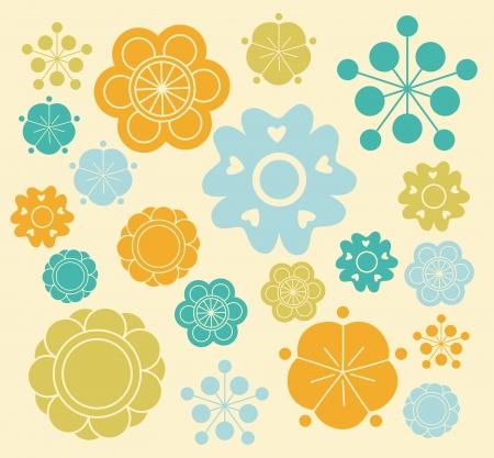 wild mint: Stylized pretty flowers A  Illustration