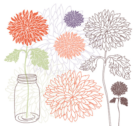 Dahlia in a jar Vector
