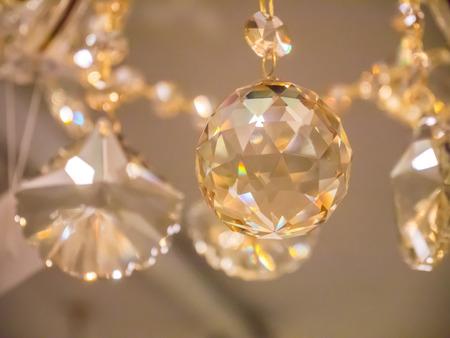 chandelier: crystal chandelier in room Stock Photo